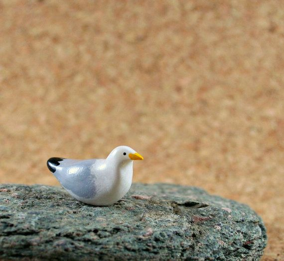 Little Seagull  Miniature Terrarium by MadeWithClayAndLove on Etsy