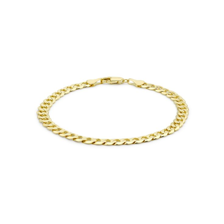 Carissima Gold Unisex 9 ct Yellow Gold Hollow Double Diamond Cut Curb Bracelet 5815H