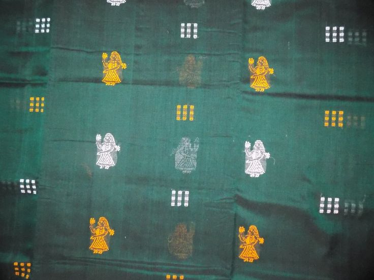 Bomkai Cotton Saree with Blouse Piece, Handwoven, Dolls Design – OdiKala