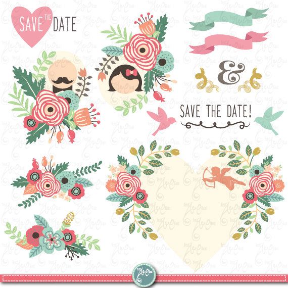 "Wedding Clipart pack ""WEDDING FLORAL"" clip art,Vintage Flowers,Floral Frames,Wreath,Wedding, Save the date, invitation,Instant DownloadWd056 by YenzArtHaut on Etsy https://www.etsy.com/listing/199906721/wedding-clipart-pack-wedding-floral-clip"