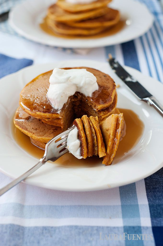 These whole grain pumpkin pancakes are easy to make, made with whole grain flour or gluten free flour; making these a delicious healthy breakfast idea!