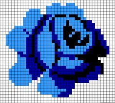 Blue rose perler bead pattern