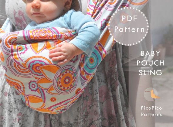 Baby sling pattern and tutorial. Doll sling pattern. Pouch sling carrier PDF. Children sewing pattern