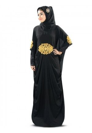 AMARA GOLD EMBROIDERED BLACK KAFTAN Stylish black Kaftan made of soft georgette fabric with pleats at waist line, decorated with shimmering Gold thread embroidery, occasion and party wear dress
