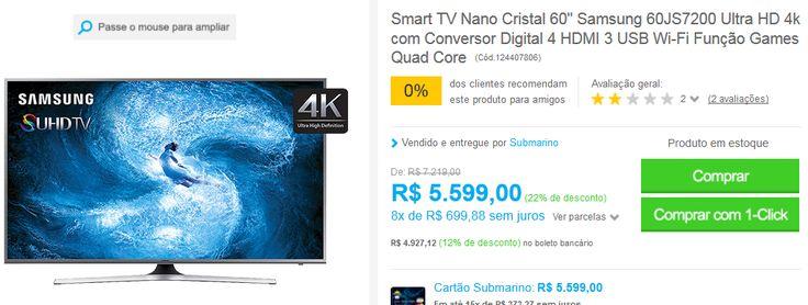 "Smart TV Nano Cristal 60"" Samsung 60JS7200 Ultra HD 4k 4 HDMI 3 USB Wi-Fi Função Games Quad Core << R$ 492712 >>"
