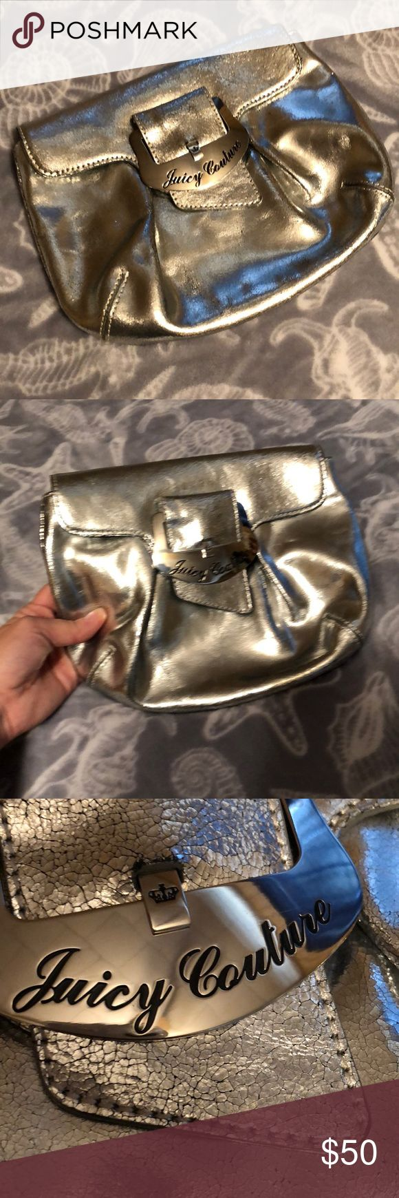 Juicy Couture Authentic Silver Metallic Clutch Used once this is in amazing condition! No marks or stains! Great for a night out, has credit card/ID holder built inside. Juicy Couture Bags Clutches & Wristlets