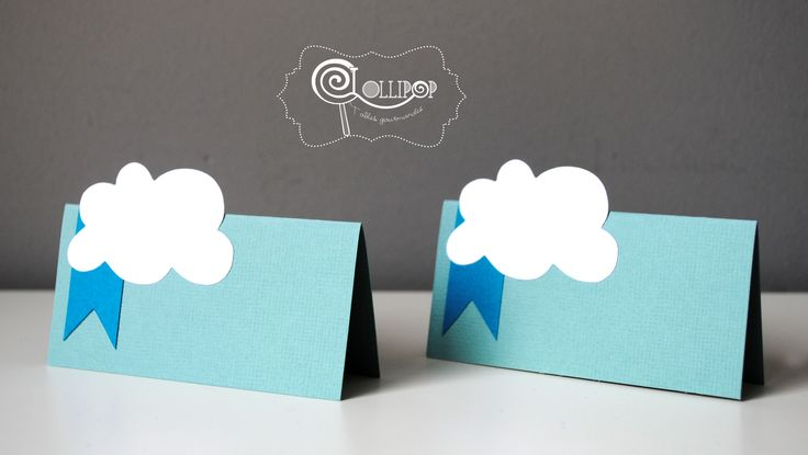 Marques places - thème Mint nuage - par lot de 10 : Cuisine et service de table par lollipop-tablesgourmandes