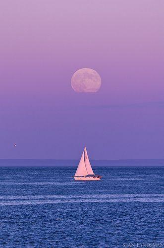 Sailing Under The Moon - Nova Scotia, Canada