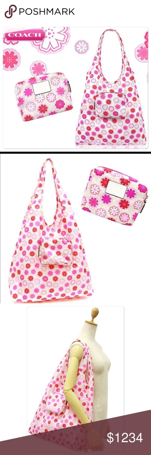 """NWT Authentic Coach Shopping Nylon Bag NWT Authentic Coach Floral Print Folding Tote Reusable Tote / Bag F67844 NWT  nylon fabric  Tote folds into attached pouch for compact storage  Handles with 11 1/2"""" drop  Approximate Unfolded tote bag measures 15"""" (L) x 13.5"""" (H)  Approximate Storage pouch measures 5 1/2"""" (L) x 4 """" (H) (Please remember measurements are approximate!) Smoke/pet free environment Coach Bags Totes"""
