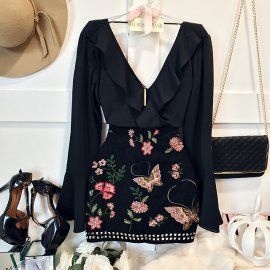 BLUSA CAMILLE DELUXE MANGA FLARE( ESTAMPA FLORES )