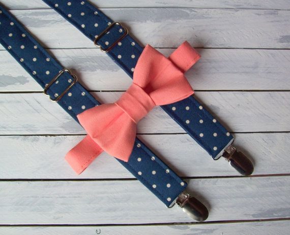 PRODUCTION TIME: Currently 2 weeks plus ship time from the date of purchase and payment received. **PLEASE LEAVE EVENT DATE DURING CHECKOUT**  Set includes hand crafted navy polka dot suspenders with light coral / salmon bow tie. The little guys need accessorizing too! So dress him up in his Sunday best or dress him down with jeans and shirt and top the outfit off with a pair of suspenders and a bow tie. He will be so dapper! Perfect for a winter wedding ring bearers.  DETAILS:  Suspende...