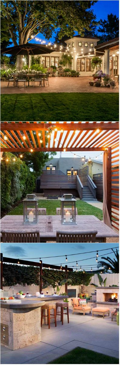 20 Beautiful Outdoor String Lights Set Up Create a romantic outdoor ambiance with string lights.     It may somehow be hard to think about what lights to actually put in your outdoor space. Considering you already have a theme in mind as to have that space would look like, would you pick a...