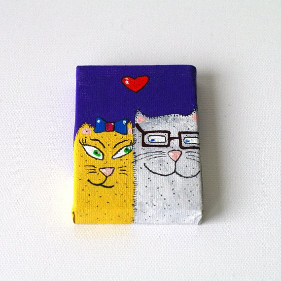 Birthday gift for her - Birthday gifts for boyfriend Gift - Cat painting with easel - Gifts for boyfriend birthday - Gift for wife For girlfriend