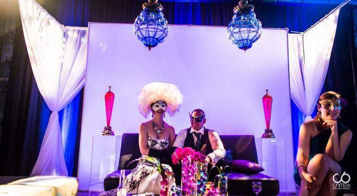 Unique masquarade wedding #drape #backdrop #funbrides