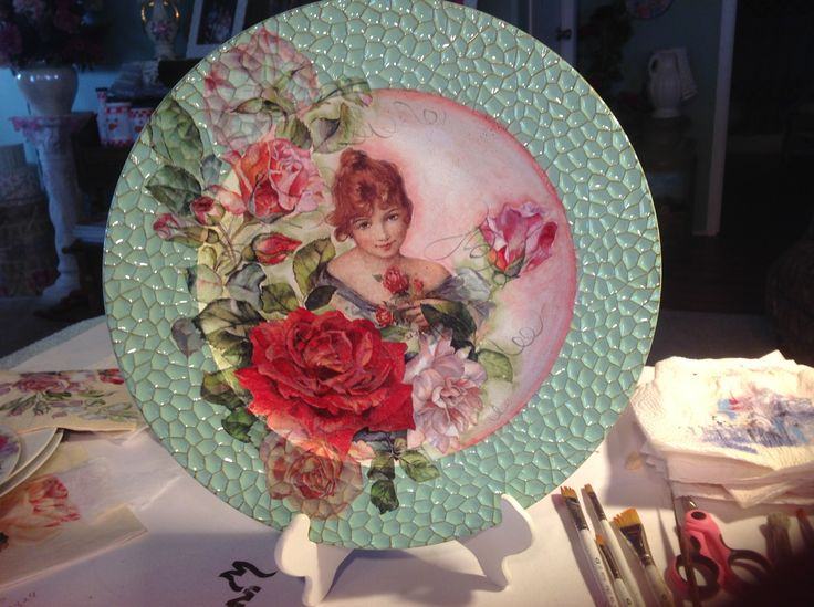 Decoupage lady on plate. Www.facebook.com/vintagetochic
