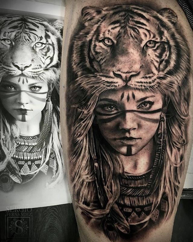 This tattoo is awesome! I love the tiger headdress and the tribal makeup on the girl!! Beautiful!
