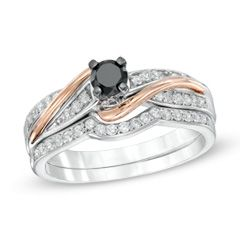 0.50 CT. T.W. Enhanced Black and White Diamond Bridal Set in Sterling Silver and 10K Rose Gold  - Peoples Jewellers
