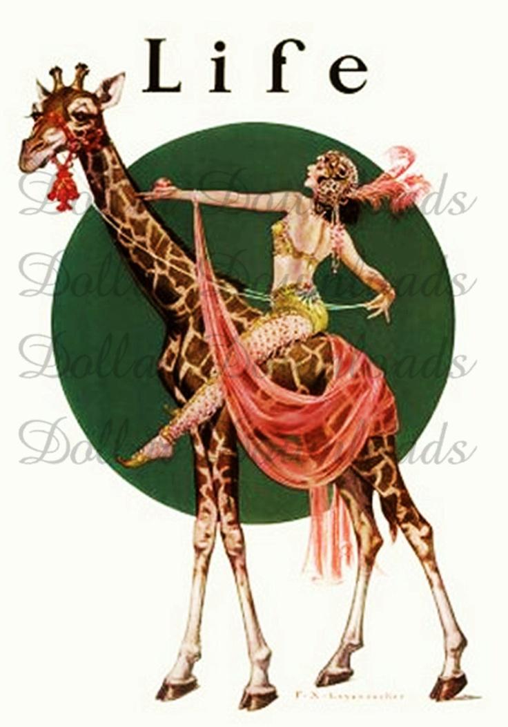 Beautiful circus woman riding giraffe life magazine cover