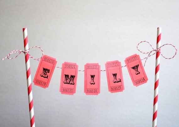 Perfect for London's cake!  Personalized Cake Bunting Banner / Cake Topper / Carnival Cake Banner / Circus Themed Cake Banner