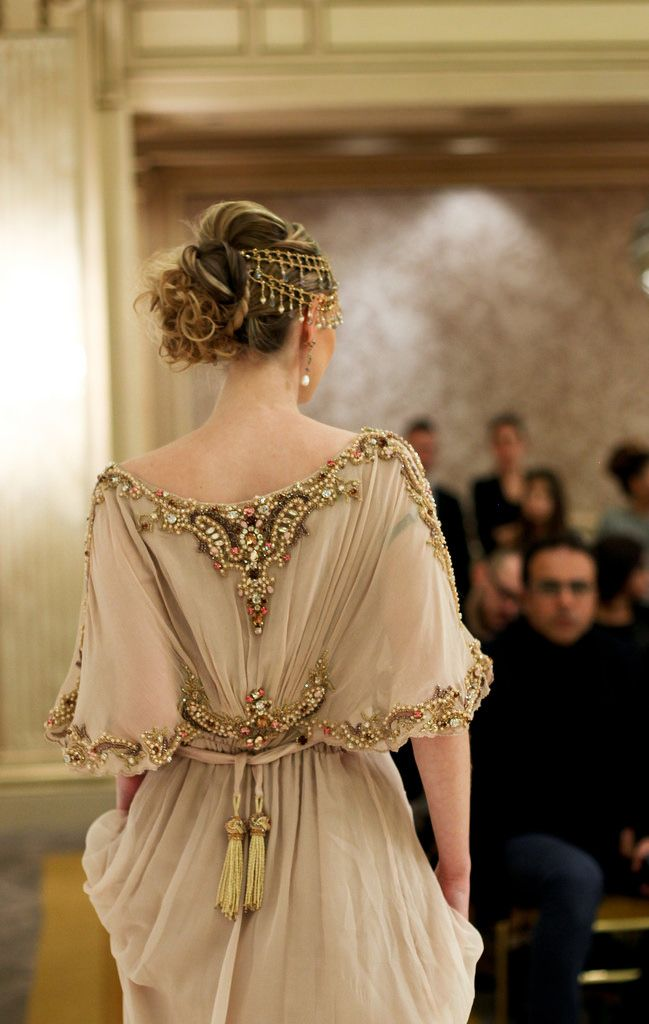 Not a real princess, but this beige caftan and headpiece is so stunning. Such #finesse
