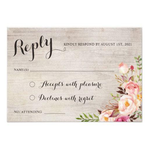 Shop Floral Boho Wedding RSVP Respond Card Created By HannahMaria