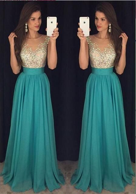 2017 Sexy Crew Neck Chiffon Long Prom Dresses Tulle Beaded Stones Top Floor Length Evening Party Dresses Plus Size Prom Dresses Uk Plus Size Short Prom Dresses