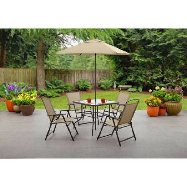 Outdoor Patio Set Complete 6 Pcs Garden Folding Dining Set Chairs Table Umbrella #OutdoorPatioSet