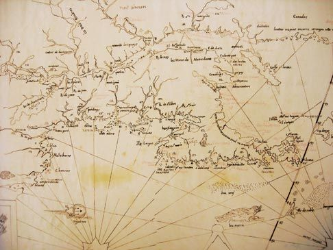 "Thoreau's sketch of Samuel Champlain's 1612 Map of ""Nouvelle France."""