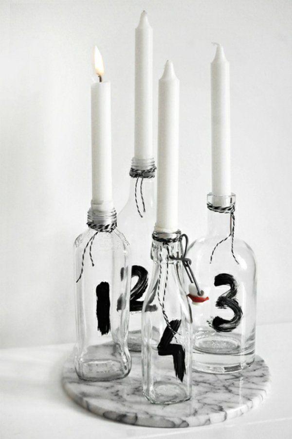 moderner adventskranz ideen vier kerzen flaschen