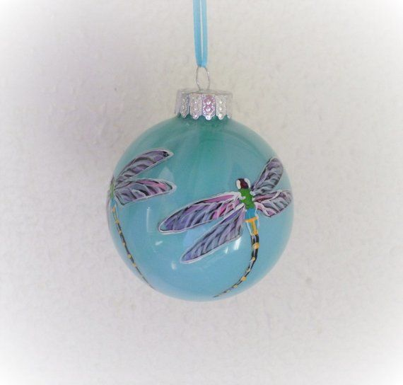 green glass  Christmas ornament Hand painted dragonfly ornament dragonfly gift