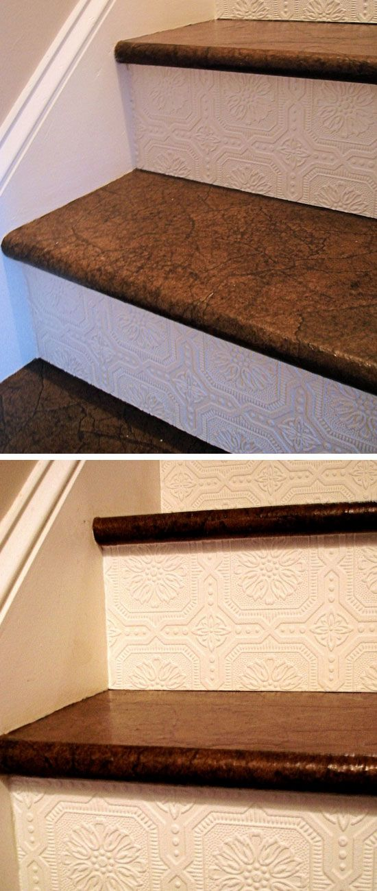 Textured Wallpaper on Stairway | DIY Home Decorating on a Budget | DIY Projects for the Home Dollar Store