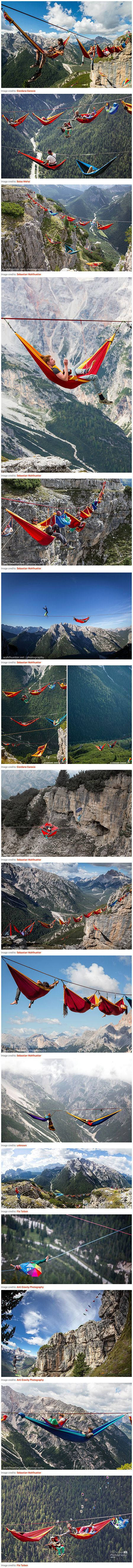 """The International Highline Meeting festival seems like one of the chillest festivals we've ever heard of, but it also might be one of the most terrifying – attendees spend most of their time strung up on tightropes stretched across the Italian Alps in Monte Piana. The attendees call themselves """"slackers"""" because of the slacklines they balance themselves on. This extreme sport differs from tightrope walking in that the rope has a slightly flattened shaped and has slack, meaning that it can…"""