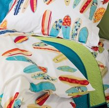 This sheet set would actually be gorgeous on our wicker bedroom set! I'm so excited to finally find a good surf-themed bedding for that bedroom set!