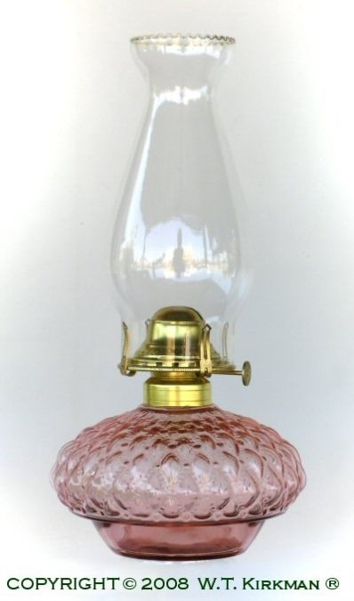 """Frosted Pink Glass """"Quilt"""" Bracket Oil Lamp."""