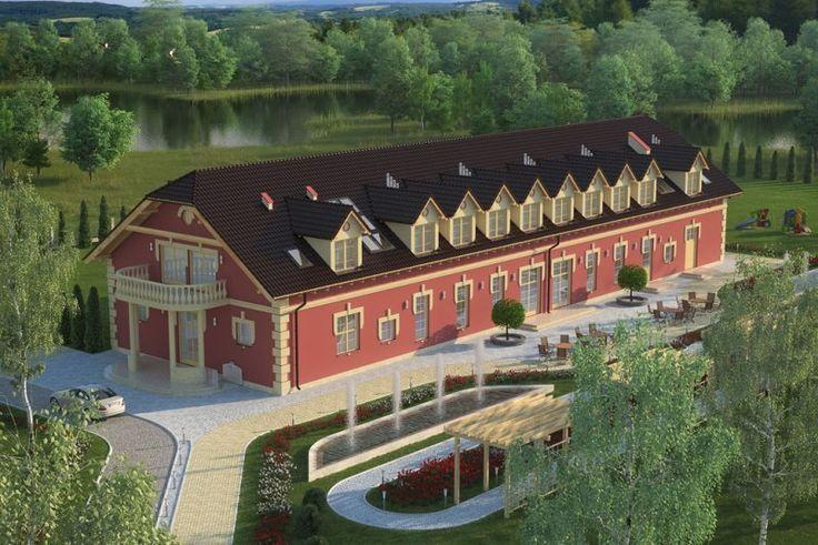 Projekt budynku gastronomicznego z zapleczem noclegowym, pełniący funkcję domu weselnego K-56, parterowy poddaszem użytkowym, niepodpiwniczony. Budynek może również pełnić funkcje pensjonatu, motelu lub zajazdu.