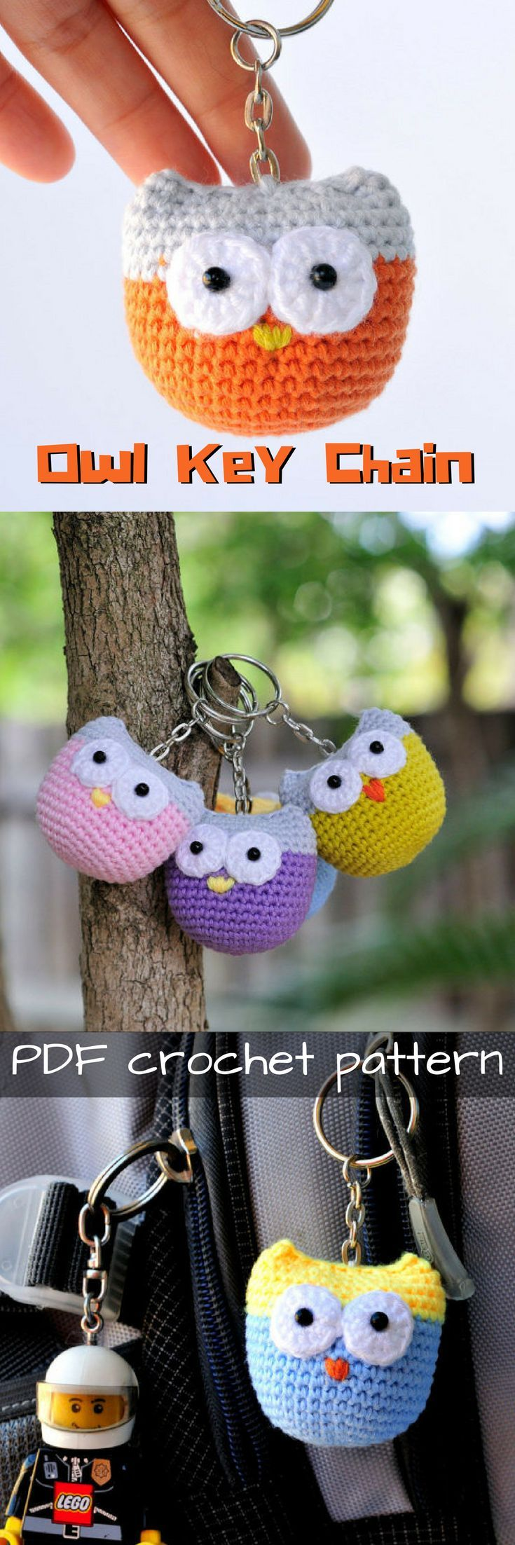 Adorable owl key chain crochet pattern! Cute little pattern for under $2.00! Great for a zipper pull or for a  backpack. #etsy #ad #amigurumi #crochet #pattern #pdf #download