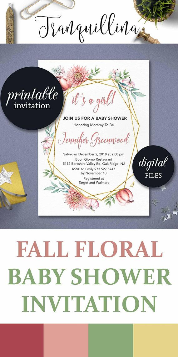 Fall Baby Shower Invitation Printable Pumpkin Invite