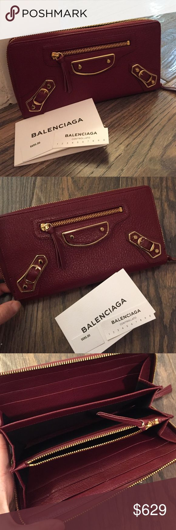 NWT Authentic Balenciaga Wallet Long wallet with zip closure. Wrap around zip closure Gold metal hardware. Front zip pocket. Leather zipper pull. Coin zip pocket. 3 bills compartments. 12 credit card slots. Embossed balenciaga logo inside. Made in italy. 100% lambskin. Color: dark red. Never used, no scratches and perfect leather condition. No box. Original price includes tax at purchase Balenciaga Bags Wallets
