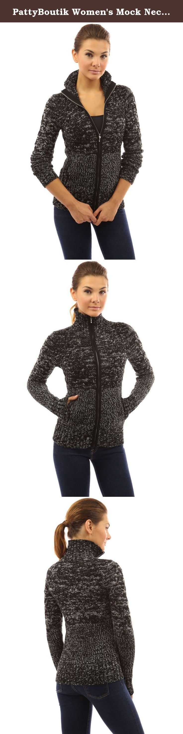 PattyBoutik Women's Mock Neck Marled Zip Up Cardigan (Black and White M). PattyBoutik Ribbed Stand Collar Mock Neck Kangaroo Pocket Zip Up Front Marled Cable Knit Jacket Sweater Cardigan. Model in pictures is 5 feet 8 inches (173cm) tall wearing size S.