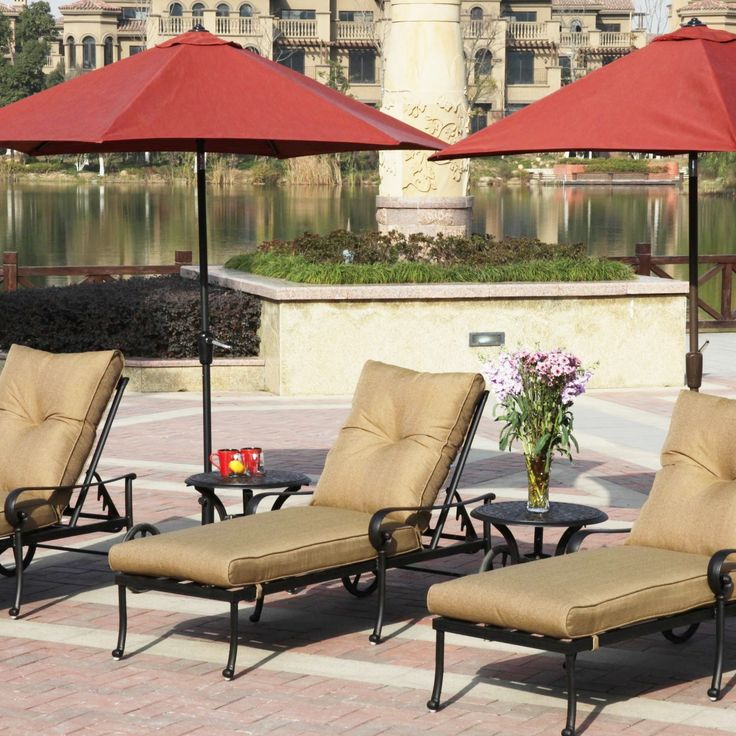 Relax in this Darlee chaise lounge set that includes the umbrellas and end tables. Featuring rust resistant cast aluminum and comfortable sesame polyester cushions. Browse more of our relaxing chaise lounges. FREE Shipping on most patio furniture and Price Match guarantee.