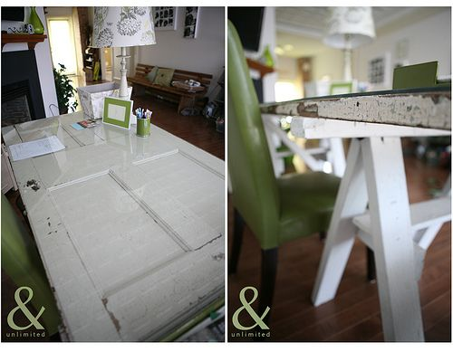 Another use for an old door - a desk!  Don't know if I'd use the sawhorses for legs, or come up with an option that has some more storage