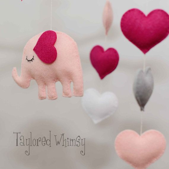 FAVORITE! DIY elephant mobile for Baby Girl's room <3 <3 <3