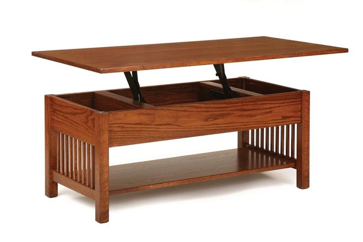 Amish Classic Mission Rectangular Coffee Table with Lift Top  Craftsman Collection  Treat yourself to the convenience of Amish furniture that is updated with modern amenities.