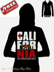 New California Republic Bear Black Women Junior Thermal Hoodie Sweater Flag