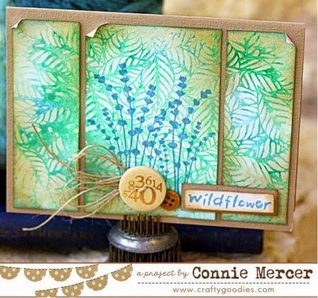 Card by Connie Mercer using Darkroom Door Wildflowers Vol 2 Rubber Stamps and Fallen Leaves Background Stamp. http://www.darkroomdoor.com/background-stamps/background-stamp-fallen-leaves
