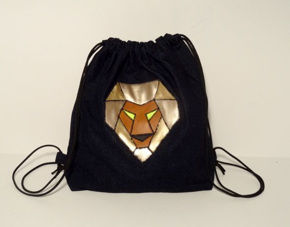 Denim sack bag with a lion head  FREE SHIPPING by PurpleTurtleBag