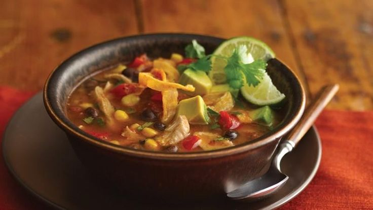 If your family enjoys Mexican food, check out this zesty soup, loaded with veggies and shredded chicken, and topped with crispy tortilla strips. It's conveniently made in a slow cooker.
