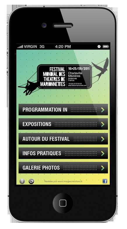 Le festival Mondial des Théâtres de Marionnettes sur mobile (iPhone et Android). Une réalisation www.imagescreations.fr #Nantes