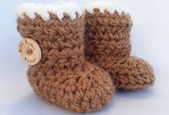 Handcrafted UGG inspired baby booties with complimentary gift