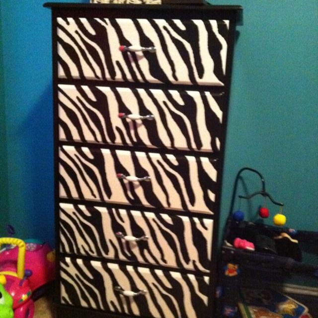 Zebra dresser - perfect for the girl's room